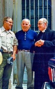 1970s (left) Angelo Zullo (son of Michele Zullo and father of John Zullo), (center) unknown, and (right) Abbot Follo