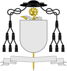 Arms of a Roman Catholic abbot are distinguished by a gold crozier with a veil attached and a black galero with twelve tassels (the galero of a territorial abbot would be green)
