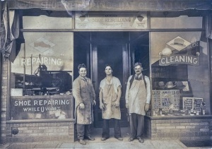 Michele Zullo (left), Angelo Zullo (center) and shop assistant, 1934
