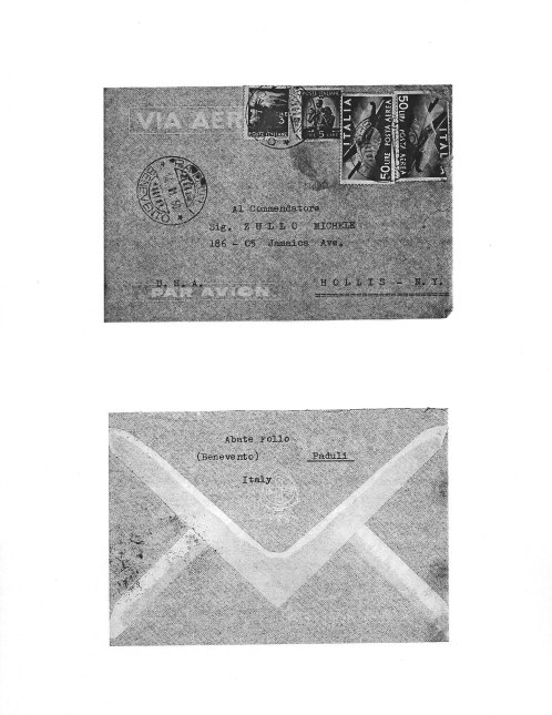 Follo-Zullo Letter 21 March, 1950, envelope