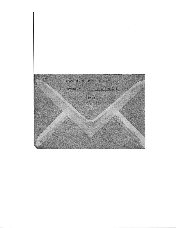 Envelope of Letter from Abbot Follo to Michele Zullo, 12 January 1950
