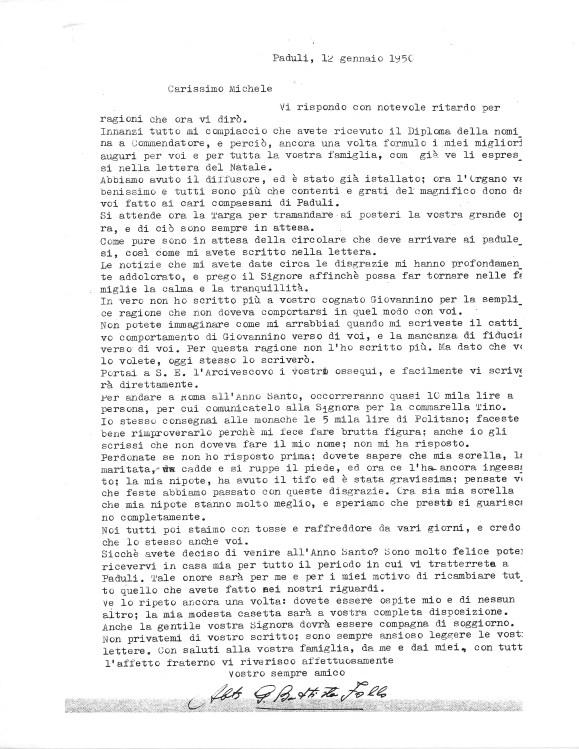 Lettera di Abate Follo a Michele Zullo, 12 gennaio 1950