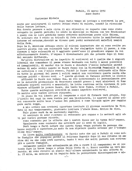 Letter from Abbot Follo to Michele Zullo, 21 March1950, page 1