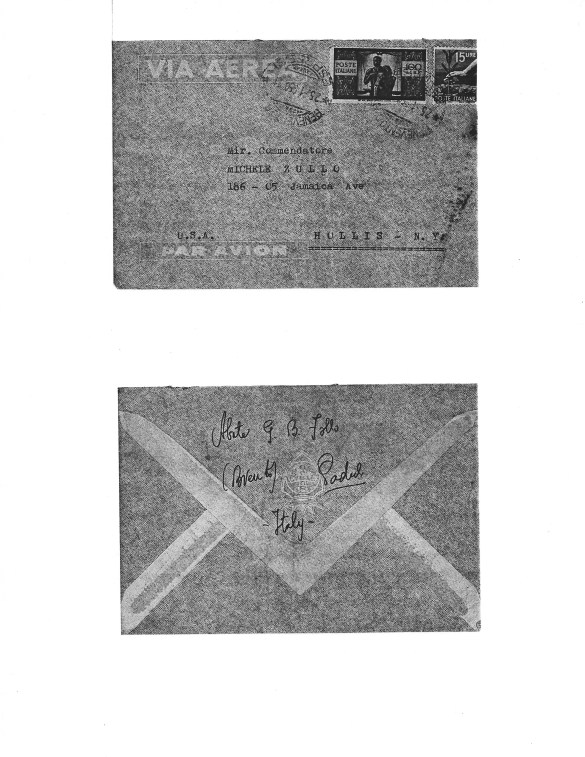 Envelope of Letter from Abbot Follo to Michele Zullo, Envelope