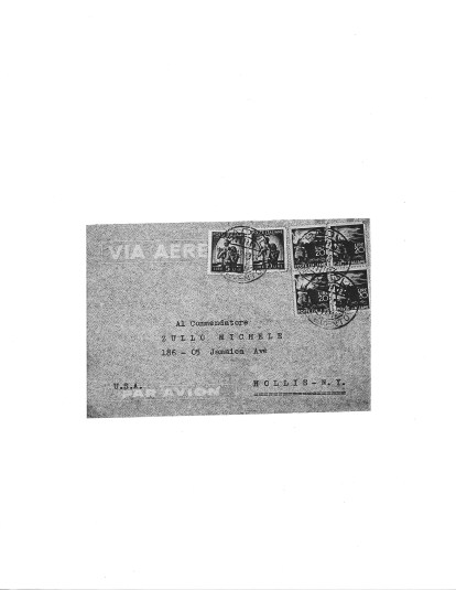 Envelope of Letter from Abbot Follo to Michele Zullo, Christmas 1949