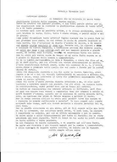 Letter from Abate Follo to Michele Zullo, 4 December 1949