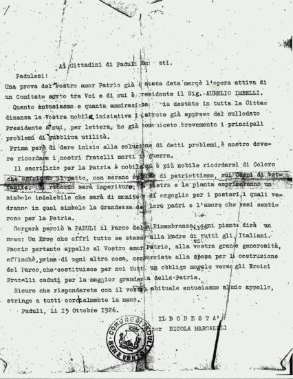 Appello ai Padulesi Emigrati di Nicola Marcarelli, Sindaco 15 ottobre, 1926
