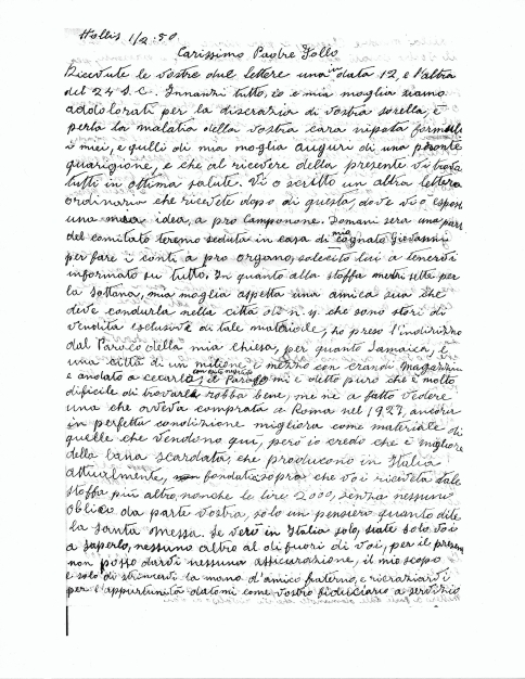 Letter from Michele Zullo to Abbot Follo, 1 February 1950, page 1