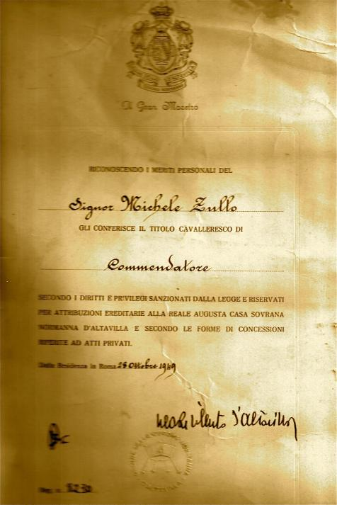 Diploma Awarding the title Commendatore to Michele Zullo, October 28, 1949